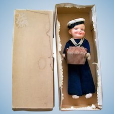 "12"" Probable Nora Wellings Sailor Doll with Working Accordian Squeaker, Orig. Box"
