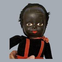 "Vintage Large Mask Face and Velvet NORAH WELLINGS-LIKE Black Boy Doll 18"""
