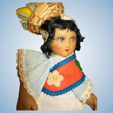 """10"""" Brazilian Felt Holzer & Cia Doll 1920s-30s"""