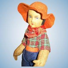 """8 1/2"""" Brazilian Felt Male Gaucho Cowboy Doll 1920s-30s"""