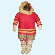 "Excellent Vintage 11 1/2"" Inuit Woman Doll"