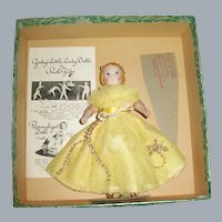 Godey's Little Lady Doll by Ruth Gibbs, Humming Bird, Booklet, Stand, Box, Tagged