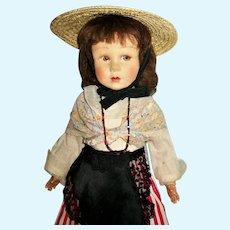 "Vintage Poupee La Venus French Felt & Cloth Doll 16"" Niçoise"