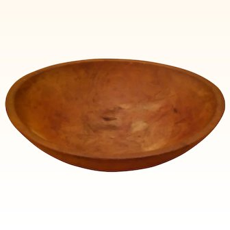 "Primitive Wooden Dough Bowl 13"" Oblong/Out of Round (12"" on short side) X 4"" deep"