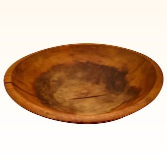 "Early American wooden dough bowl, oblong, 13"" (12""on short side) 2.5"" deep"