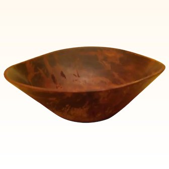 "Primitive Wooden Bowl, odd triangular shape, 11.5""-12"" around top rim.  tapers to 6"" at bottom, 4"" deep"