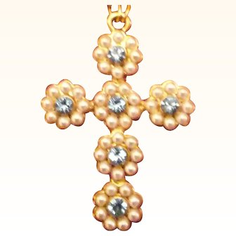 Camrose & Kross Jacqueline B. Kennedy Crystal & Simulated Pearl Cross Pendant