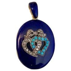 Elegant Victorian Era Cobalt Blue Enamel & Diamond Locket in 18k Yellow Gold