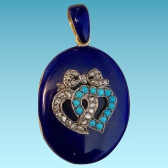 Elegant Victorian Era Cobalt Blue Enamel & Diamond Locket in 18k Yellow Gold