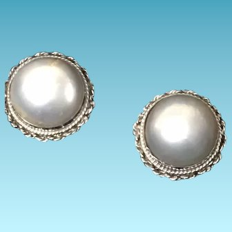 Exquisite Round Mabe Pearl Earrings, set in 14k White Gold