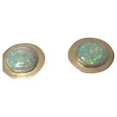 Beautiful Vintage White Opal Earrings, in 14k Yellow Gold