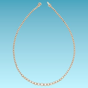 Fabulous Vintage 6 Carat Diamond Riviera Tennis Necklace, set in 14k Yellow Gold