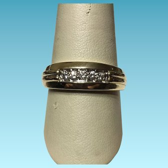 Beautiful 14k Yellow Gold Traditional Wedding Band, accented with Five Brilliant-Cut Diamonds