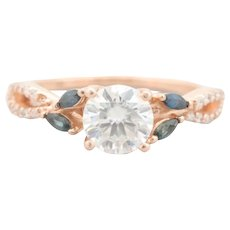 Beautiful 14k Rose Gold, Moissanite, Sapphire, and Diamond Ring