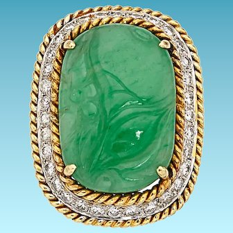 Incredible GIA Certified Jadeite Jade, Diamond, 18k Gold Ring