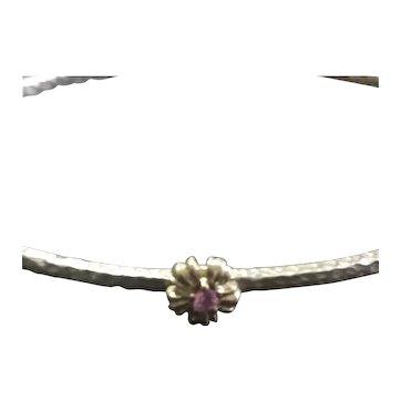 Pink Topaz Birthstone Bangle Bracelet