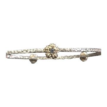 Aquamarine Birthstone Bangle Bracelet