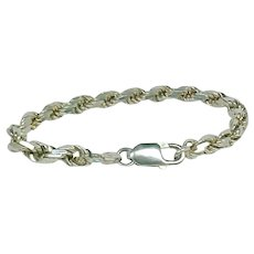 Italian Bracelet, Thick Rope Chain, Sterling Silver