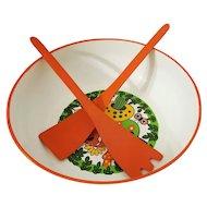Royal Terry of California orange & mushroom motif salad bowl with tongs Japan