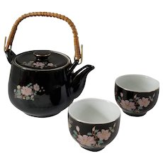 NAKAGAMA 中窯 Porcelain 3 Piece Tea Set Purple & Black Flowers & Birds