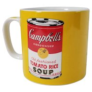 Andy Warhol Pop Block Art Campbell's Soup Coffee Mug Tomato Rice Soup