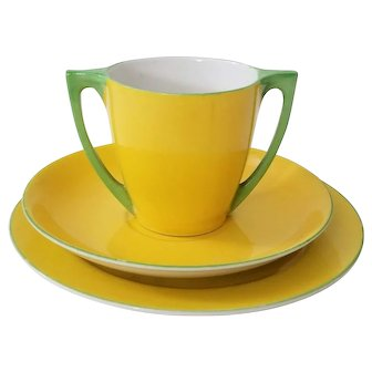 Vintage Okwan China Hand Painted Dual Handle Cup, Saucer & Dessert Plate Yellow and Lime Green Made In Japan