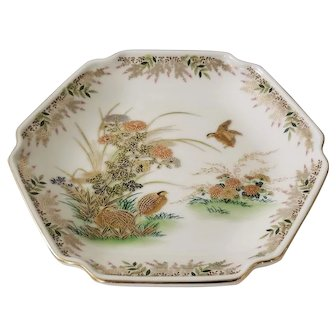 Vintage Japanese Otagiri Hexagon Plate Hand Painted Quail & Floral Design
