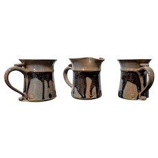 Studio Pottery Two Coffee Mugs & Creamer Dark Brown Drip Glaze Artist Signed