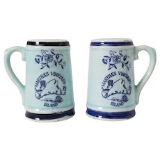 Martha's Vineyard Salt & Pepper Shakers Aqua Blue Japan Mid Century Modern