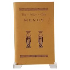 The Friday Club Menus 1977 3rd Ed. Yarmouth, MA Cape Cod Cookbook