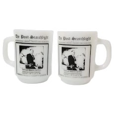 Anchor Hocking Milk Glass, Pair of  Newspaper Mugs, The Post-Searchlight, Samuel Marvin Griffin