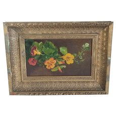 Antique Flower Painting In Wood Gold Gilt Frame