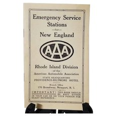 A.A.A. 1930's American Automobile Association Emergency Service Stations Directory & Bail Bond Certificate