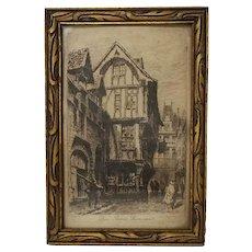 Charles Pinet Framed Engraving Rouen Rue Saint Roamain, Paris Eau-Forte Par Ch. Pinet 5