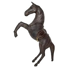 Leather Wrapped Horse With Glass Eyes, Rearing Position Statue