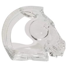 BAYEL France Crystal Horse Head Ashtray, Art Glass