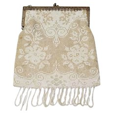 1920's Beaded Purse Tan, White and Clear Floral Detail
