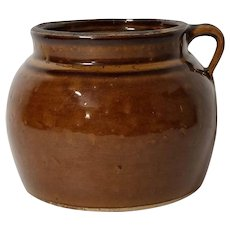 Old Primitive Brown Glazed Stoneware Bean Pot / Crock With One Handle