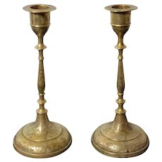 Brass Candlestick Pair Etched Floral Garland