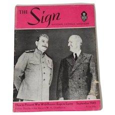 The Sign National Catholic Magazine, September 1945