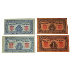 Four United Cigar Stores Company of America Certificate's, Blue & Orange