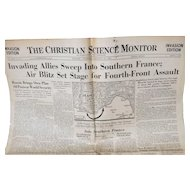The Christian Science Monitor Invasion Edition Central Edition, August 15, 1944