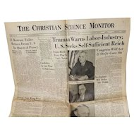 """The Christian Science Monitor """"Truman Warns Labor-Industry"""" September 5, 1945"""