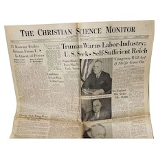 "The Christian Science Monitor ""Truman Warns Labor-Industry"" September 5, 1945"