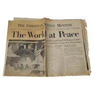 """The Christian Science Monitor """"The World At Peace"""" August 15, 1945"""