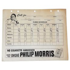 "Call For Philip Morris, 1951 ""CLASS SCHEDULE"" Calendar College Advertising Folder"