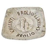 Brolio Chianti Italy Castle Pottery Square Ashtray, Cigar Tobacciana