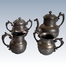 Derby Silver Co. Quadruple Plate Tea Service 4 Piece Set 1053 Raised Detail Derby, Connecticut Antique Holloware Set
