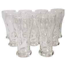 MCM Federal Glasses Clear Soda Fountain Bar Glasses Bell Shape Set of 9