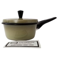 Mirro Kitchen Pride Aluminum Colormode 1 Qt. AVOCADO Green Sauce Pan Pot NEW